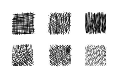Vector Hand Drawn Scribble Collection Isolated on White Background, Hatch Drawing Sketch, Design Elements Set.