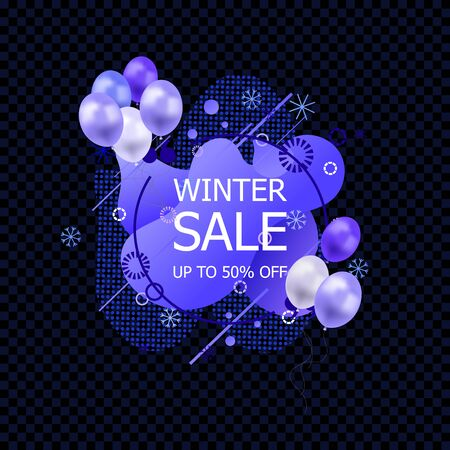 Vector Winter Sale Sign, Abstract Liquid Shapes, Geometric Pattern and Snowflakes with Blue Balloons, Icon Isolated on Dark Transparent Background.