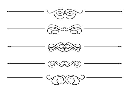 Collection vectorielle de lignes de séparation en filigrane de tourbillon, éléments de conception isolés sur fond blanc, lignes bouclées décoratives noires.