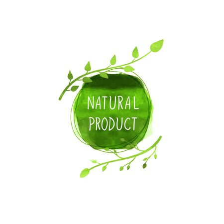 Vector Natural Product Sign, Watercolor Green Spot and Painted Leaves with White Hand Drawn Text, Design Element Isolated on White Background. Illustration