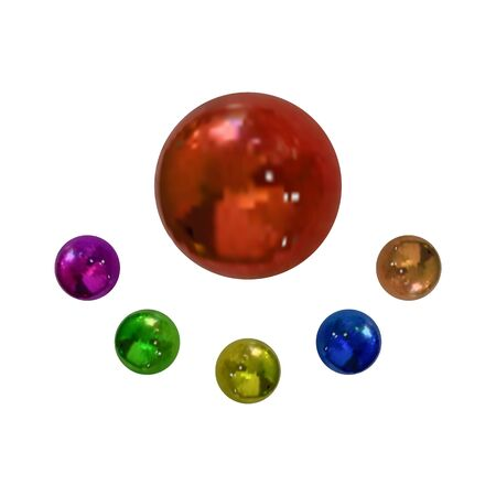 Vector Collection of Colorful Balls Isolated on White Background, Realistic Metal Spheres,Bright Colors.