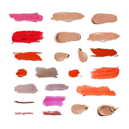 Vector Set of Different Cosmetic Smears Isolated on White Background, Realistic Design Elements, Lipstick, BB Cream, concealer, tint.