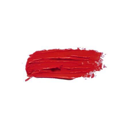 Vektor-Lippenstift-Abstrich isoliert auf weißem Hintergrund, rote Kosmetikproduktprobe, Gestaltungselement.