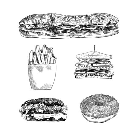 Vector Handdrawn Fast Food Sketches Isolated on White Background, Black Scribble Lines, Design Elements Set.