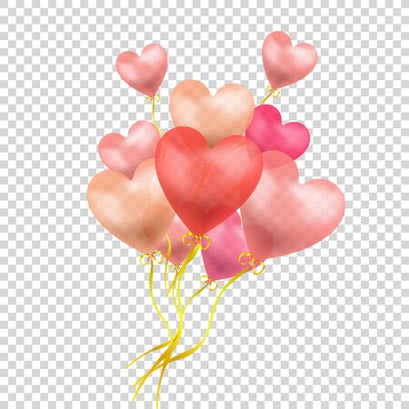 Vector Heart Shaped Red Baloons Group Isolated on Light Transparent Background, Valentines Day Celebration, Wedding Gift, Flying Objects.