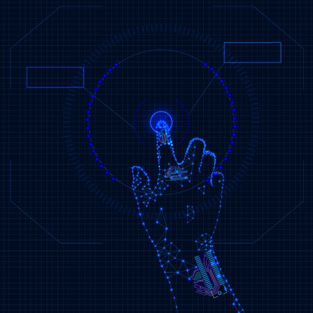 Vector Technology Background, Finger Pushing the Button, HUD Background, Network Concept, Artificial Intellegence. Vettoriali