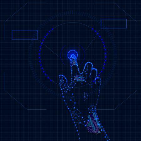 Vektortechnologie-Hintergrund, Finger, der den Knopf drückt, HUD-Hintergrund, Netzwerkkonzept, künstliche Intelligenz. Vektorgrafik