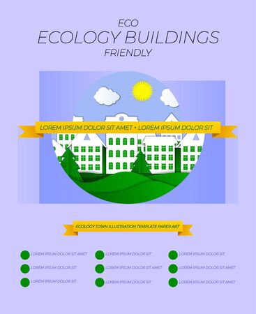 Vector Ecology Friendly Town Buildings Illustration, Poster Layout Template, Eco Concept. Banco de Imagens - 138444181