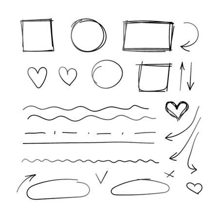Vector conjunto de elementos de diseño dibujados a mano aislado sobre fondo blanco, colección de dibujos.