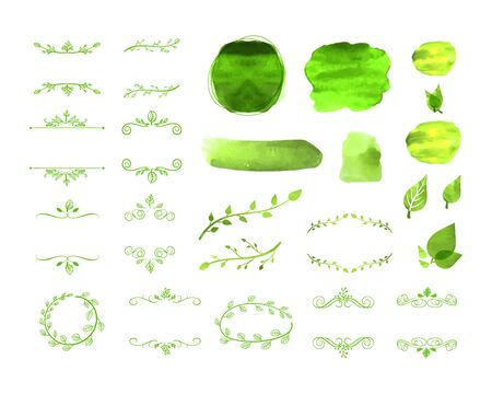 Vector Green Natural Frames, Watercolor Spots, Leaves, Design Elements Isolated on White Background, Blank Borders and Dividing Lines.