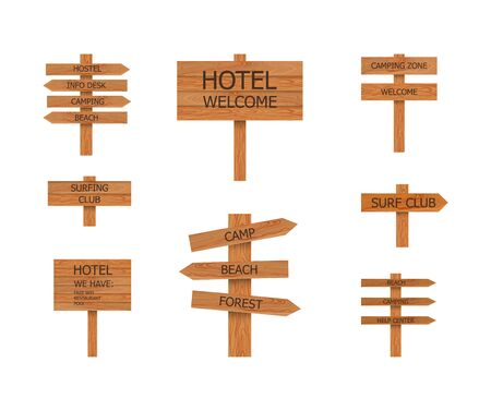 Vector Camp Wooden Signs Collection, Beach Pointer, illustration Isolated on White Background.