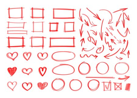 Vector set of hand drawn design elements, red marker strokes, abstract shapes, squares, circles, arrows, hearts, underline strokes isolated on white background.