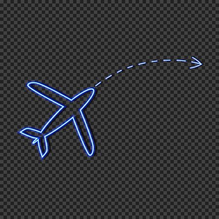 Vector neon airplane icon with arrow, travel concept, glowing blue sign isolated on dark transparent background, tourism symbol.