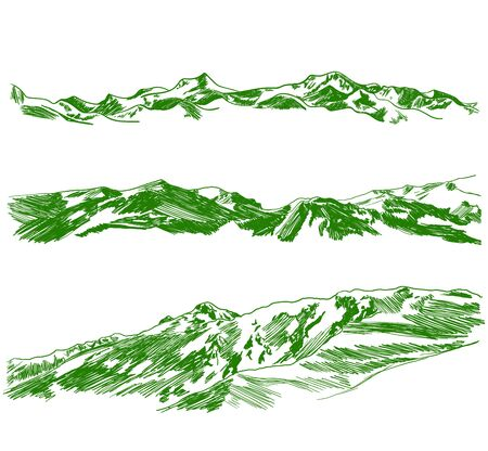 Vector green mountains sketches set isolated on white background, summer vacation, active recreation, adventure, hand drawn illustration.