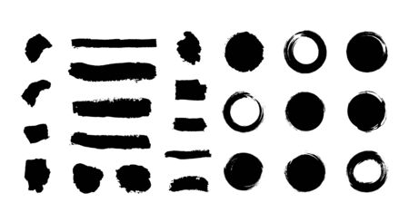 Vector baclk paint brush, brush strokes set isolated on white background, textured lines and circles, artistic design elements.