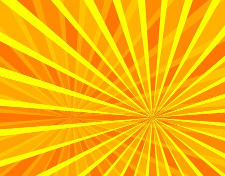 Vector Sun Beams Background, Bright Orange and Yellow Colors, Cartoon Sunshine, Stage Illumination Backdrop.