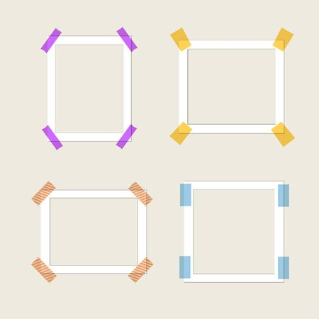 Vector Collection of Paper Frames, White Borders, Blank Template, Colorful Tape.