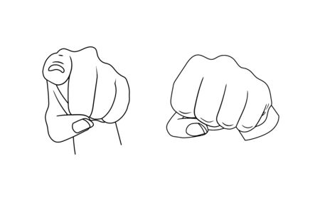 Vector hand with pointing finger and fist gesture, black outline illustrations isolated on white background.