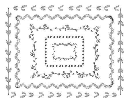 Vector set of doodle hand drawn frames, black contour drawings, plant ornaments, decorative borders isolated on white background.