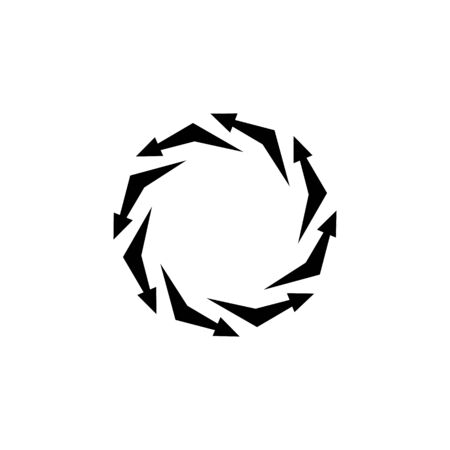 Vector arrows in a circle, vicious circle, infinity sign, reloader icon, black sign isolated on white background, simple symbol. 일러스트