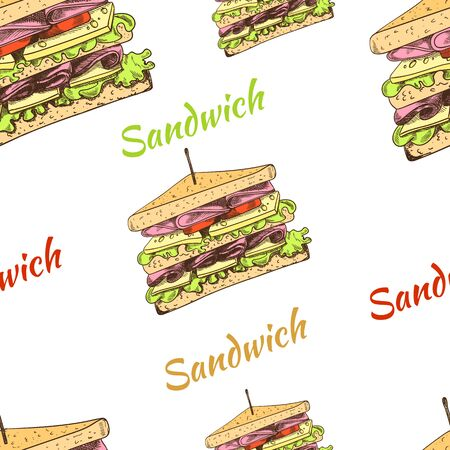 Vector seamless pattern with hand drawn sandwiches, delicious graphic backdrop, colorful background template, painting illustration. Vettoriali