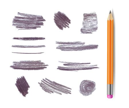 Vector gray graphite pencil stokes set isolated on white background, different shape textrures, design elements collection.