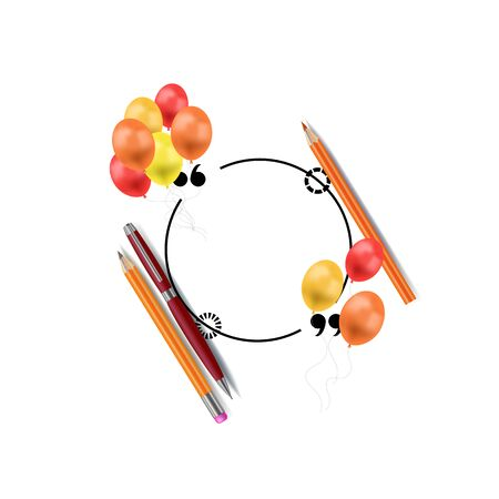 Vector school frame template, blank circle frame with pen, pencils and 3D balloons, colorful illustration. Иллюстрация