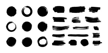 Vector black paint brush strokes set isolated on white background, japanese enso circles, different ink blots, dry painting elements collection.