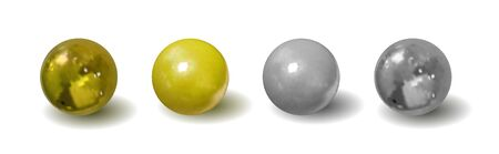 Vector group of a silver and golden balls with shadows isolated on white background, metallic realistic 3D objects set, mockup templates.