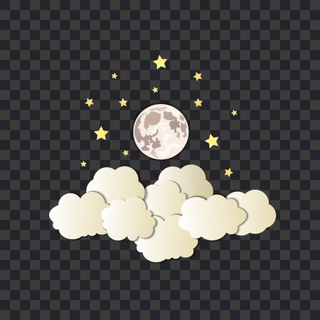 Vector cumulus clouds, stars and moon on the dark transparent background, isolated illustration template, cosmos, full moon, paper art style. Иллюстрация