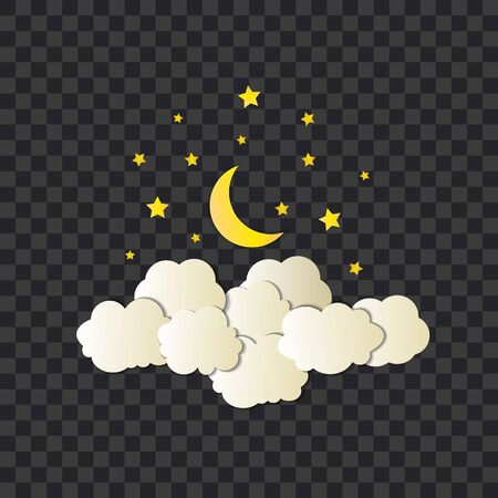 Vector night illustration, shining moon and stars, clouds, paper art style, objects isolated on dark transparent background, sleep time.