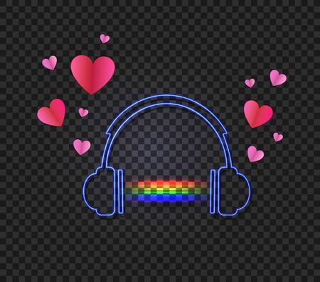Vector headphones with a glowing rainbow music sound and hearts isolated on dark transparent background, neon light, paper art style hearts. Иллюстрация