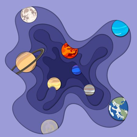 Vector background with a planets of the Solar system, flat decorative objects, paper art style, multilayerd illustrations with realistic shadows, blue color.