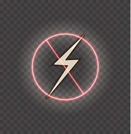Vector lightning icon in a circle red neon  frame, crossed out sign, danger symbol isolated on dark transparent background.