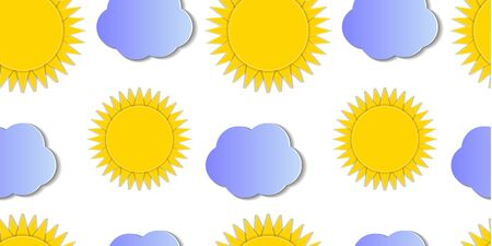 Vector cartoon seamless pattern, paper art style, sunny sky, suns and clouds background, graphic backdrop template, cut out geometric shapes with a shadows.