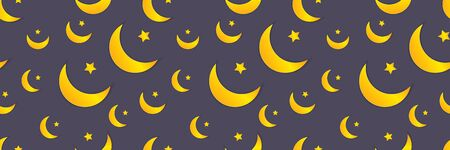Vector seamless pattern template, muslim symbols on a dark purple blue background, graphic backdrop template, paper art style, flat moons and stars with a shadows.