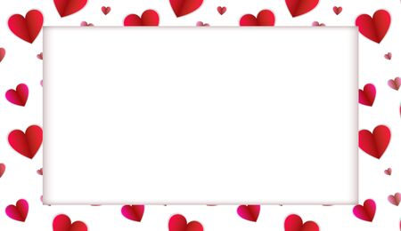 Vector blank frame template with a paper art style hearts, white background with a red heart shapes, shadow, greeting card template. Иллюстрация