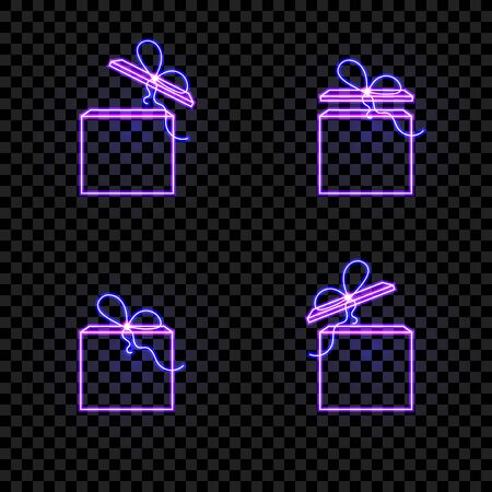 set of neon shining boxes with a bows isolated on dark transparent background, icons collection, give away concept, gift boxes. Иллюстрация