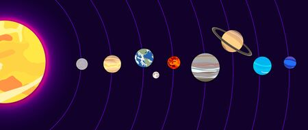 Vector Solar System Illustration, dark blue background, shining sun and 8 planets, Earth with the Moon, cartoon art, graphic backdrop.
