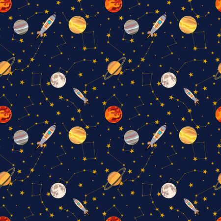 Vector seamless pattern, space colorful illustration, constellations and planets, spaceship rocker, cartoon graphic backdrop, background template. 일러스트