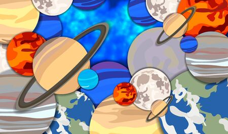 Vector cartoon galaxy space background, colorful planets on dark blue backdrop, graphic illustration, abstract cosmos.