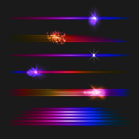 Vector gradient colored light effects set isolated on dark black background, glowing stripes collection, shining illustration, colorful design elements.