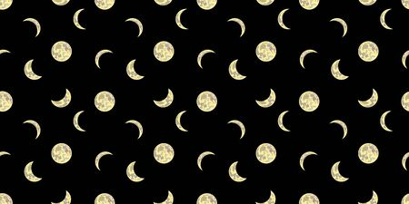 seamless pattern with a shining moons on the dark black sky, space illustration, night background, graphic backdrop template.