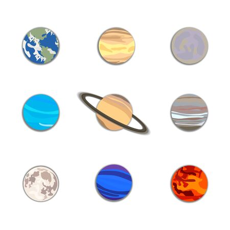 Vector set of cartoon planet icons isolated on white background, space, cosmos, galaxy, hand drawn flat 8 planets with shadows and the moon, solar system objects. 일러스트