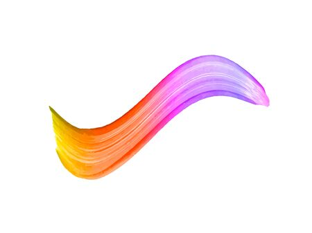 Vector colorful gradient brush stroke isolated on white background, realistic paint texture, colorful acrylic paint.