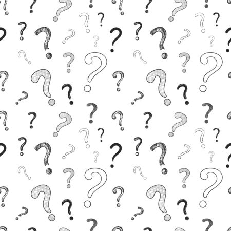 Vector seamless pattern, question marks, doodle drawing, hand drawn black and white background template, graphic backdrop.