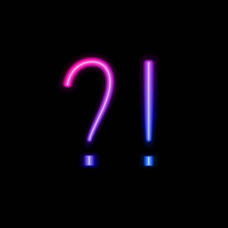 Vector neon gradient question and exclamation marks isolated on black background, ultraviolet colors, colorful shining design element template. 일러스트
