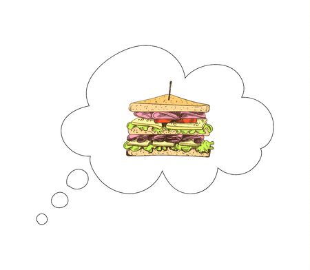 Vector hand drawn sandwich in a thought cloud isolated on white background, colorful illustration, fast food icon. Иллюстрация