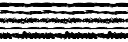 Vector set of seamless horizontal black ink strokes isolated on white background, illustration template, grunge style, rough drawn lines, divider lines.
