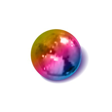 Vector gradient colored metallic ball, realistic illustration, decoration template, 3D object with a shadow isolated on white background. 일러스트